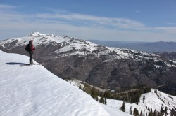 Spring skiing in Farmington Canyon is worth it just for the view. (Skier: Dave Thieme. Photo: Jared Hargrave - UtahOutside.com)