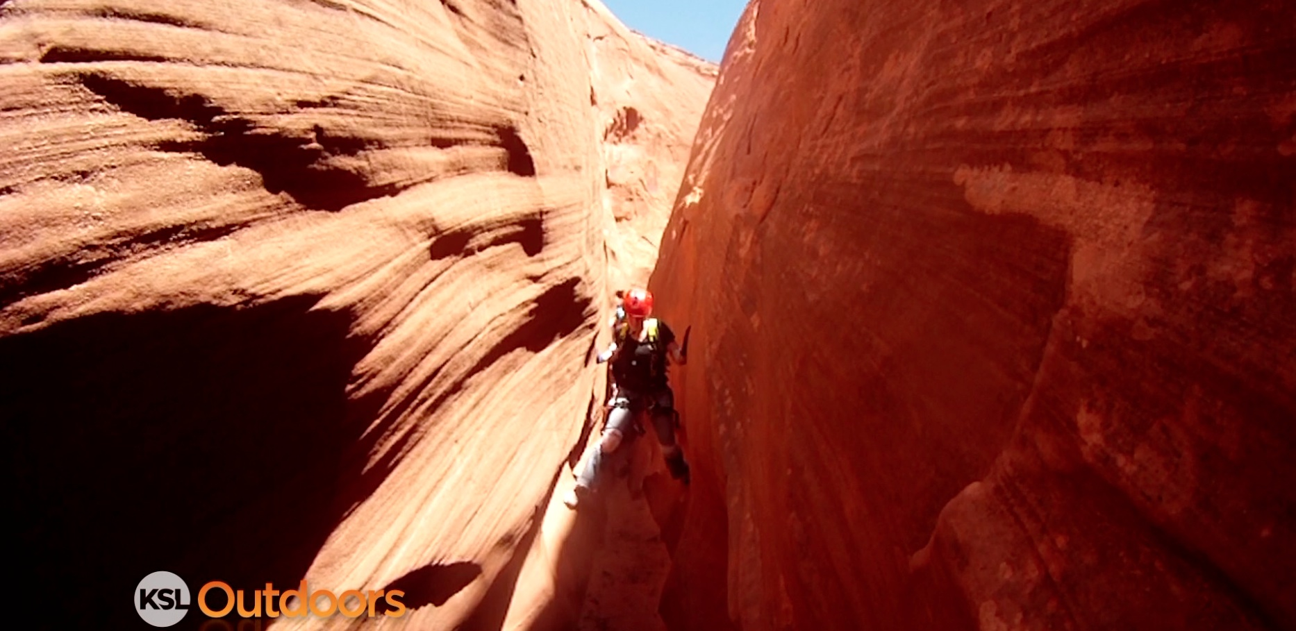 Screen grab from an episode of KSL Outdoors featuring canyoneering in Leprechaun Canyon.