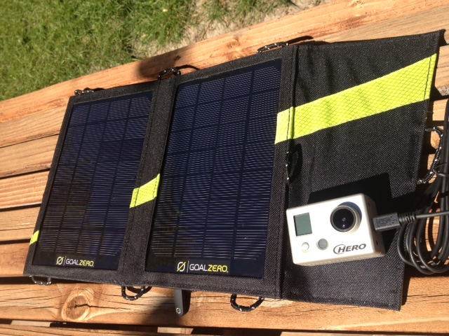 The Goal Zero Nomad 3.5 solar panels charging my GoPro. (Photo: Jared Hargrave - UtahOutside.com)