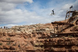 Kyle Strait with his no-handed jump off the Oakley Feature during the 2013 Red Bull Rampage. (Photo: Christian Pondella - Red Bull Content Pool)