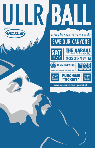 Ullr Ball, presented by Voilé to benefit Save Our Canyons, happens on November 9th at Garage on Beck.