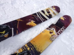 The ski tips are honeycombed for lighter weight and a lighter swing weight for easy, playful skiing. (Photo: Jared Hargrave - UtahOutside.com)