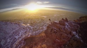 "Still frame from the video ""BASE Jump Showcase: Squaw Peak."""