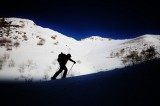 Backcountry ski touring in the Oquirrh Mountains below Rocky and Lowe Peak . (Skier: Jon Strickland. Photo: Jared Hargrave - UtahOutside.com)