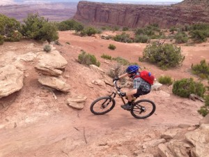 The author turning a corner on Big Chief, one of the east side trails at Dead Horse Point State Park (photo Todd Dinsmore)
