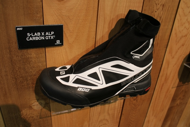 56c55718a62b Salomon S-Lab X Alp Carbon GTX light mountaineering boots on display at  Outdoor Retailer