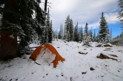 Snow in August! Powder blankets camp at Kamas Lake on August 23rd, 2014. (Photo: Jared Hargrave - Utahoutside.com)