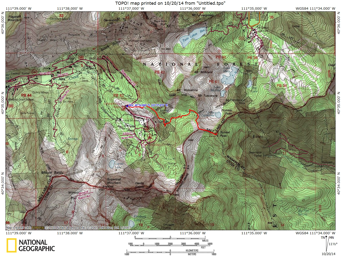 Hiking Sunset Peak At Alta - Where to get topo maps for hiking