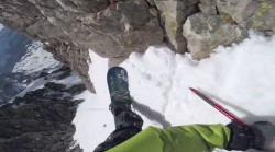 "Screenshot from the video, ""Snowboarding from the top of Hayden Peak"" by the Provo Bros."
