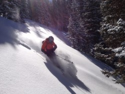 Adam Symonds finds fresh powder on north and west-facing slopes in Beartrap and Willow Forks on February 22, 2015. (Photo: Jared Hargrave - UtahOutside.com)