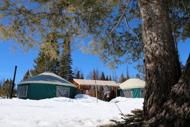 The Coyote Yurt, operated by Idaho's Sun Valley Trekking, is actually two yurts in one, a bedroom yurt and kitchen/dining yurt connected by a breezeway. (Photo: Jared Hargrave - UtahOutside.com)