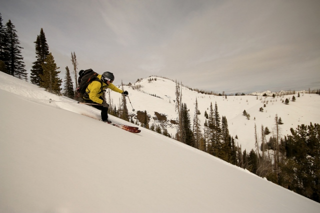 Mason Diedrich finds the creamy goodness on what is perhaps our best run of the trip as far as snow quality is concerned. (Photo: Jared Hargrave - UtahOutside.com)