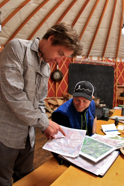 Zach Scribner and Mason Diedrich plan for the day's tour in the Coyote Yurt, Idaho. (Photo: Jared Hargrave - UtahOutside.com)