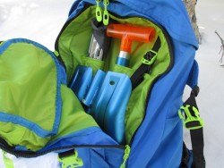 The rescue gear compartment on the Dakine Pro II pack has room for all of your backcountry essentials, and a great organization system (photo: Ryan Malavolta -UtahOutside.com)