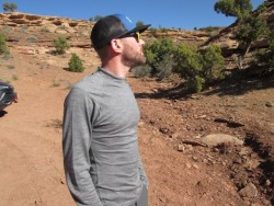 The author sports the Watson's Merino wool long sleeve top during a chilly trip to the San Rafael Swell (Photo: Ryan Malavolta/Utahoutside.com)