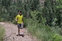 Hiking in Big Cottonwood Canyon with the Mountain Hardwear WickedCool shirt.
