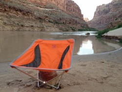 The Alite Designs Monarch Chair review on the shores of the Colorado River in Cataract Canyon.