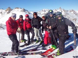 The crew at the top of Catedral Alta Patagonia enroute to Refugio Frey with Patagonia Ski Tours.