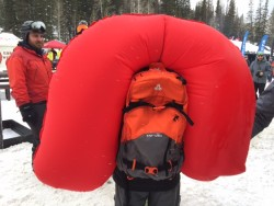 The Arva Reactor System airbag pack fully deployed at Outdoor Retailer 2016 Winter All Mountain Demo. This is the very first deployment of the Arva system in North America. (Photo: Jared Hargrave - UtahOutside.com)