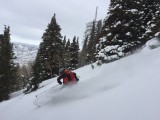 Adam Symonds gets a piece of untracked on Millvue Peak in Lambs Canyon. (Photo: Jared Hargrave - UtahOutside.com)