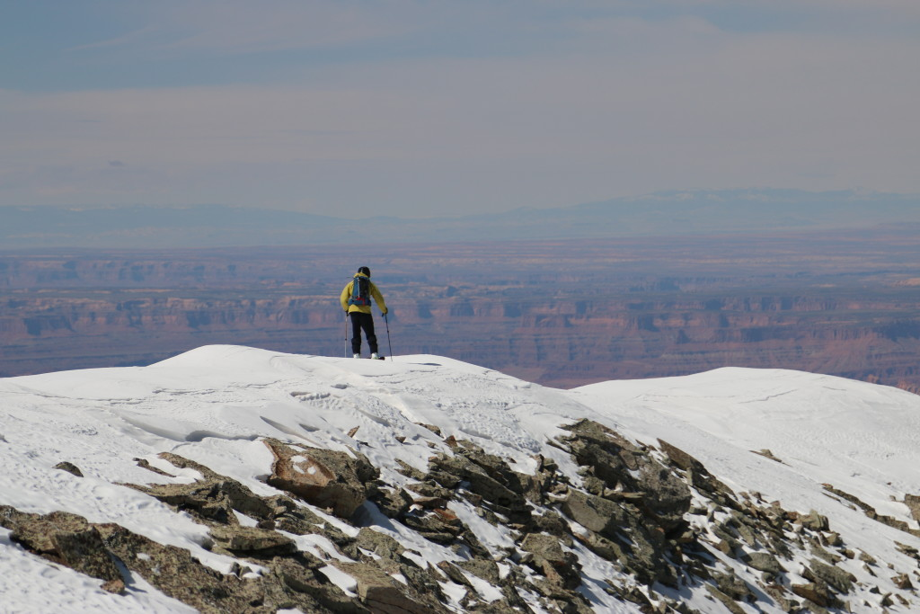 Mike DeBernardo on the summit of Haystack Mountain with Moab's red rock desert below. (Photo: Jared Hargrave - UtahOutside.com)