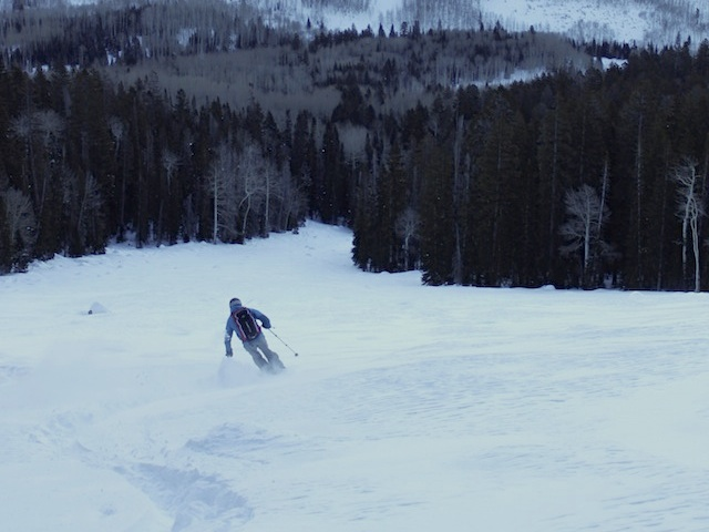 The South Mountain Glades are a series of meadows that spill down from Point 11142 in the South Group of Moab's La Sal Mountains. (Skier: Adam Symonds. Photo: Jared Hargrave - UtahOutside.com)