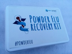 "The Ski Utah Powder Flu Recovery Kit contains stuff you'll need to ""recover"" by skiing sweet powder. (Photo: Jared Hargrave - UtahOutside.com)"