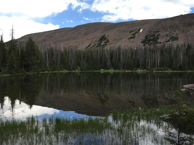 Olga Lake is just a short hike uphill from Carolyn Lake. Both bodies of water are loaded with Arctic Grayling fish. (photo: Ryan Malavolta/Utahoutside)