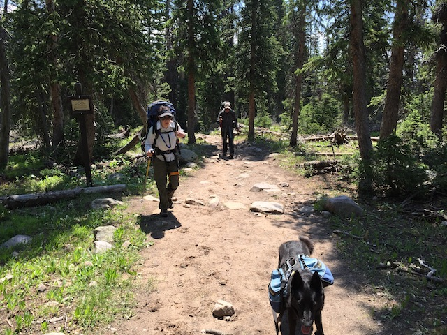 Backpackers heading out for Carolyn Lake on the Highline Trail in the High Uintas Wilderness (photo: Ryan Malavolta/Utahoutside)