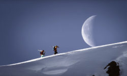We review the Matchstick Productions film, Ruin and Rose. The cinematography in Ruin and Rose is amazing, as evidenced by this shot of skiers hiking with the moon.  (Photo: Matchstick Productions)