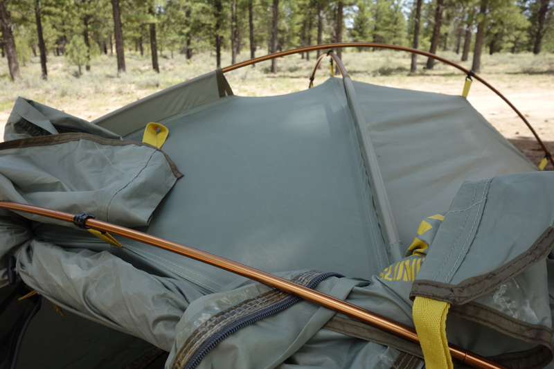 The external-pitch pole system makes setup easy; no worries if you have to pitch your tent in the rain. (photo Ryan Malavolta/Utahoutside.com) & Slumberjack Nightfall 2 Tent teview