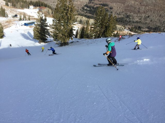 Skiers on Solitude 2017 opening day